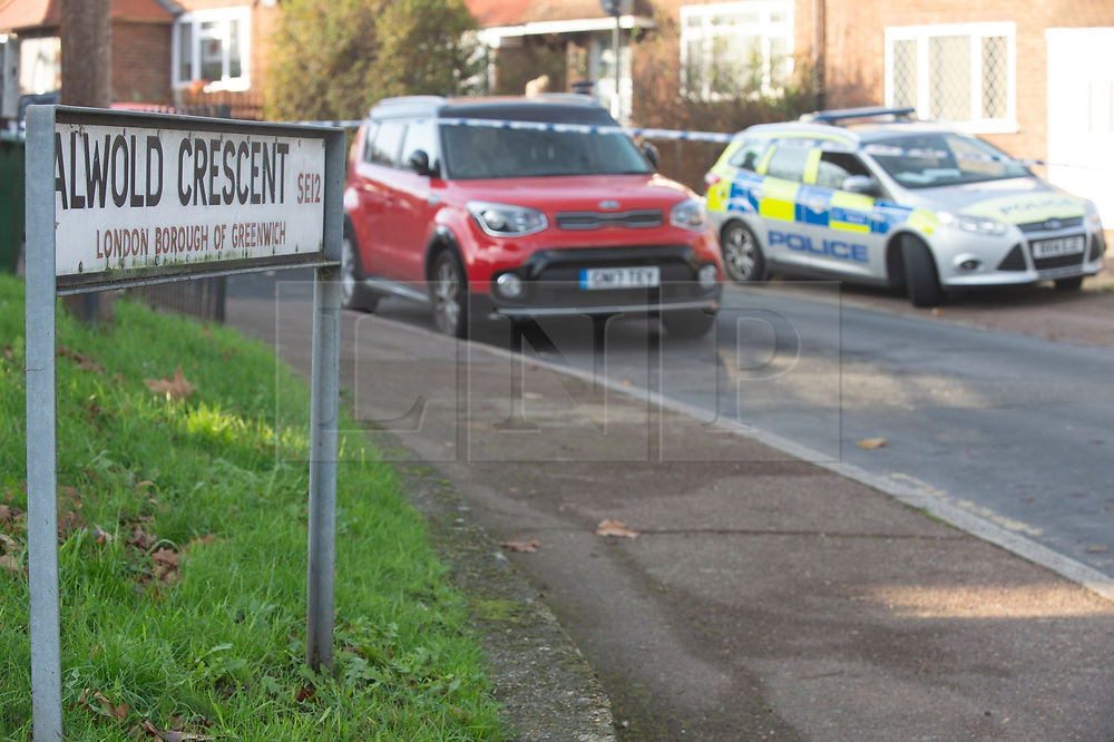 © Licensed to London News Pictures. 12/12/2018. Eltham, UK. Police have closed Alwold Crescent in Eltham and stand guard at cordons. A murder investigation has been launched by police after another teenager is stabbed to death in South East London over night.Photo credit: Grant Falvey/LNP