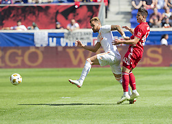 September 30, 2018 - Harrison, New Jersey, United States - Brian White (42) of Red Bulls & Leandro Gonzalez Pirez (5) of Atlanta United FC fight for ball during regular MLS game at Red Bull Arena Red Bulls won 2 - 0  (Credit Image: © Lev Radin/Pacific Press via ZUMA Wire)