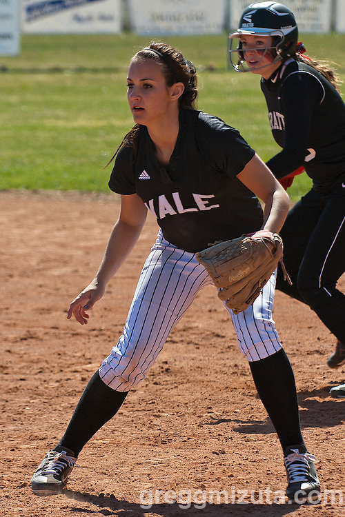 Vale first baseman McKenna Hawley during the Vale Payette softball game, March 22, 2014 at Payette, Idaho.