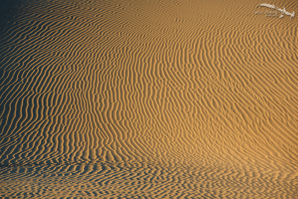 Sand patterns at Mesquite Dunes, Death Valley, California