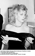 Lady Wendy Caledon. ( Wendy, Countess of Caledon ) Hoynigen-Huene book party. Hamiltons. London. 10 November 1986. Film 86933f13<br />