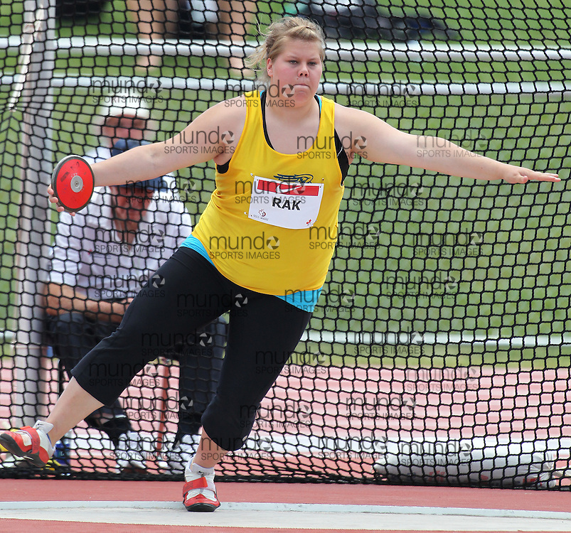 (Moncton,  New Brunswick) --- 2010 Canadian Junior Track and Field Championships - July 2nd to 4th,2010, Moncton, New Bruinswick ---.Breanna RakDiscus004_0710CA.jpg at the 2010 Canadian Junior Track and Field championships in Moncton, New Brunswick July 04 ,  2010)... Photograph copyright Claus Andersen / Mundo Sport Images, 2010.