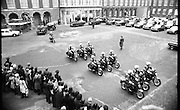 Funeral of President Childers.    (H62)..1974..20.11.1974..11.20.1974..20th November 1974..Following a period of lying in state, the remains of President Erskine Childers were removed today from Dublin Castle. The cortege would transfer the president to St Patrick's Cathedral where the funeral service would be held...Picture of the cortege carrying the body of the late President Childers moving towards the gates of Dublin Castle and out onto Dublin's streets where the people were waiting to pay their respects.