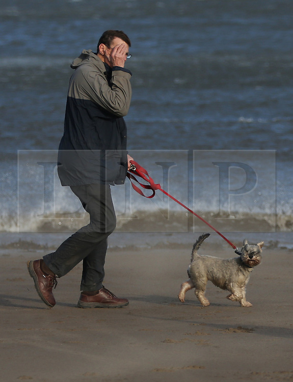 © London News Pictures. 29/01/2016. Scarborough, UK. A dog walker shields his face from strong winds on the beach at  Scarborough, North Yorkshire, England, 29 January 2016. Storm Gertrude has caused damage and disruption as it battered Scotland, with gusts reaching more than 100mph in Shetland. Photo credit: Nigel Roddis/LNP