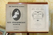 Sheet music for the song Because, by Helen Guy, 1857-1936, daughter of Henry Guy, owner of the chateau 1865-99, composing as Guy d'Hardelot, in the Library, in the Chateau de Hardelot, originally the site of a 12th century castle, rebuilt over the centuries and finally redeveloped in the 19th century, in Condette, Pas-de-Calais, France. Helen Guy left the chateau to study at the Conservatoire in Paris and was a celebrated pianist, singer and composer. The current chateau dates from 1865-72, when its owner, Henry Guy, rebuilt it in Neo-Tudor style. Since 2009 the building has housed the Centre Culturel de l'Entente Cordiale, with an arts programme involving France and Britain. It is situated within the Reserve Naturelle Regionale du Marais de Condette, a protected marshland area. Picture by Manuel Cohen