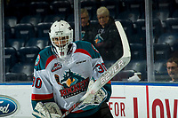 KELOWNA, CANADA - JANUARY 16: Roman Basran #30 of the Kelowna Rockets warms up against the Moose Jaw Warriors on January 16, 2019 at Prospera Place in Kelowna, British Columbia, Canada.  (Photo by Marissa Baecker/Shoot the Breeze)