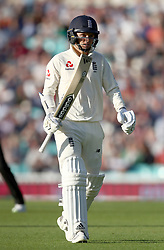 England's Sam Curran walks off after being dismissed by India's Ishant Sharma (not pictured) during the test match at The Kia Oval, London.