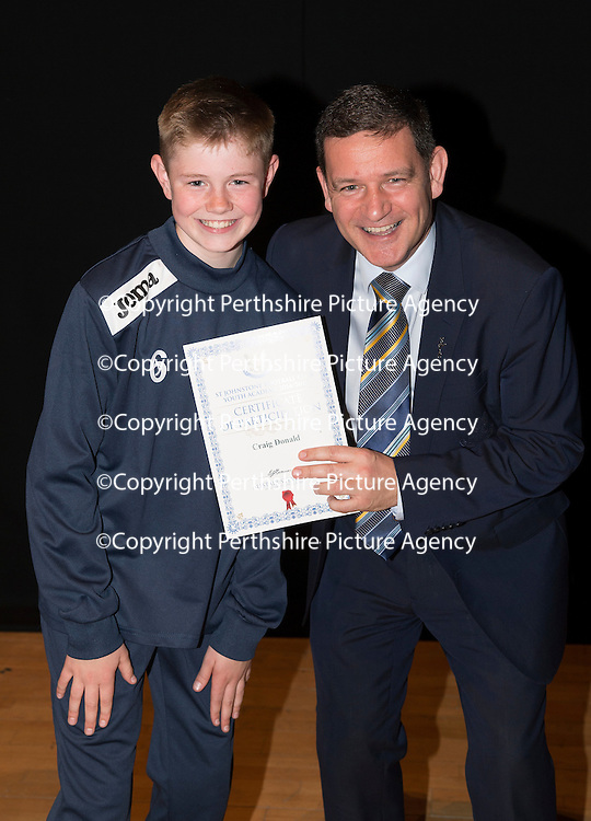 St Johnstone FC Academy Awards Night...06.04.15  Perth Concert Hall<br /> Chairman Steve Brown presents a certificate to Craig Donald<br /> Picture by Graeme Hart.<br /> Copyright Perthshire Picture Agency<br /> Tel: 01738 623350  Mobile: 07990 594431