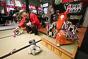 "ITB (Internationale Tourismusbörse) 2005, World's largest tourism fair..Aibo says ""Yokoso in Japan""."