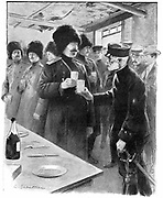 Russo-Japanaese War: Generals Stoessel (Russian) and Nogi (Japanese) sharing a toast after arranging terms for Russian capitulation of Port Arthur, 27 January 1905