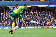 Nathan Redmond of Norwich has a shot on goal during the Barclays Premier League match at Stamford Bridge, London<br /> Picture by Paul Chesterton/Focus Images Ltd +44 7904 640267<br /> 21/11/2015