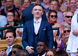 LONDON, ENGLAND - Saturday, July 7, 2018: Gymnast Nile Wilson in the Royal Box before the Gentlemen's Singles 3rd Round match on day six of the Wimbledon Lawn Tennis Championships at the All England Lawn Tennis and Croquet Club. (Pic by Kirsten Holst/Propaganda)