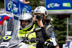 Vid Ponikvar, sports photographer with a driver Marjan Srnel during 4th Stage of 26th Tour of Slovenia 2019 cycling race between Nova Gorica and Ajdovscina (153,9 km), on June 22, 2019 in Slovenia. Photo by Matic Klansek Velej / Sportida