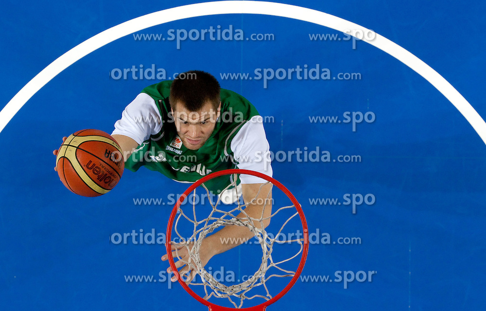 Uros Slokar of Slovenia at warming up prior to the basketball match between National teams of Belgium and Slovenia in Group D of Preliminary Round of Eurobasket Lithuania 2011, on September 4, 2011, in Arena Svyturio, Klaipeda, Lithuania.  Slovenia defeated Belgium 70-61. (Photo by Vid Ponikvar / Sportida)