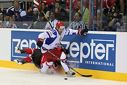 12.05.2011, Orange Arena, Bratislava, SVK, IIHF 2011 World Championship, Canada vs Russia, im Bild CLUTTERBUCK AND TYUTIN. EXPA Pictures © 2011, PhotoCredit: EXPA/ EXPA/ Newspix/ .Tadeusz Bacal +++++ ATTENTION - FOR AUSTRIA/(AUT), SLOVENIA/(SLO), SERBIA/(SRB), CROATIA/(CRO), SWISS/(SUI) and SWEDEN/(SWE) CLIENT ONLY +++++