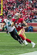 San Francisco 49ers fullback Kyle Juszczyk (44) carries the ball against the Jacksonville Jaguars at Levi's Stadium in Santa Clara, Calif., on December 24, 2017. (Stan Olszewski/Special to S.F. Examiner)