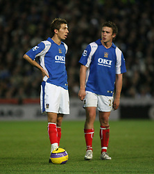 PORTSMOUTH, ENGLAND - SATURDAY, DECEMBER 9th, 2006: Gary O'Neil and Sean Davis of Portsmouth during the Premiership match at Fratton Park. (Pic by Chris Ratcliffe/Propaganda)