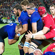 William Servat, France, drives the ball with team mates during the Wales V France Semi Final match at the IRB Rugby World Cup tournament, Eden Park, Auckland, New Zealand, 15th October 2011. Photo Tim Clayton...