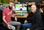 From left, Nathan Allebach, Social Media Manager and Jesse Bender, Account Manager, sit at a computer monitor with the Twitter account for Steakumm visible on screen at Allebach Communications Tuesday December 19, 2017 in Souderton, Pennsylvania. The Montgomery County marketing firm is trying to have the Steam Twitter account verified with viral success. (WILLIAM THOMAS CAIN / For The Philadelphia Inquirer)