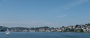 Lucerne, SWITZERLAND<br /> <br /> Looking across the lake from the ferry boat  towards the Town of Lucerne.. Day trip on lake Lucerne<br /> <br /> Wednesday  <br />  <br />   25.05.2017<br /> <br /> <br /> © Peter SPURRIER<br /> <br /> Panasonic  DMC-LX100  f5.6  1/1250sec  50mm  3.8MB