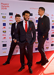 LIVERPOOL, ENGLAND - Thursday, May 10, 2018: Liverpool's Alberto Moreno, Mohamed Salah and Dejan Lovren arrive on the red carpet for the Liverpool FC Players' Awards 2018 at Anfield. (Pic by David Rawcliffe/Propaganda)