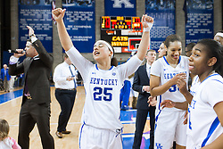 Kentucky guard Makayla Epps exhales after the one point win against Tennessee, 64-63, Monday, Jan. 25, 2016 at Memorial Coliseum in Lexington. Epps led all scores with 23.