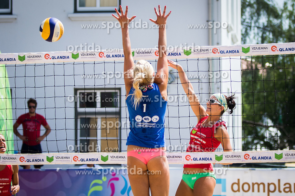 Erika Fabjan of Sberbank vs Ana Skarlovnik of team Ana in Jelena during Qlandia Beach Challenge 2015 and Beach Volleyball Slovenian National Championship 2015, on July 25, 2015 in Kranj, Slovenia. Photo by Ziga Zupan / Sportida
