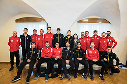 Teams Poland and Slovenia during Official Draw of Davis Cup 2018 tournament between National teams of Slovenia and Poland, on February 2, 2018 in Mestna hisa - Mariborski Rotovz, Maribor, Slovenia. Photo by Rene Gomolj / Sportida