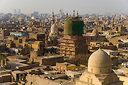 Egypt. Cairo - the mausoleum of  TARABAY AS SHARIFI  at the entrance of THE CEMETERY NORTH  view from the MINARET IN THE CEMETERY. , islamic Cairo NM255 +