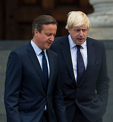 © Licensed to London News Pictures. 07/07/2015. London, UK. DAVID CAMERON and BORIS JOHNSON leaving the service. . A church service held at St Paul's Cathedral In London on the 10th anniversary of the 7/7 bombings in London which killed 52 civilians and injured over 700 more.  Photo credit: Ben Cawthra/LNP