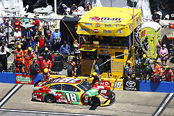 April 29, 2018 - Talladega, Alabama, United States of America - Kyle Busch (18) brings his car down pit road for service during the GEICO 500 at Talladega Superspeedway in Talladega, Alabama. (Credit Image: © Chris Owens Asp Inc/ASP via ZUMA Wire)