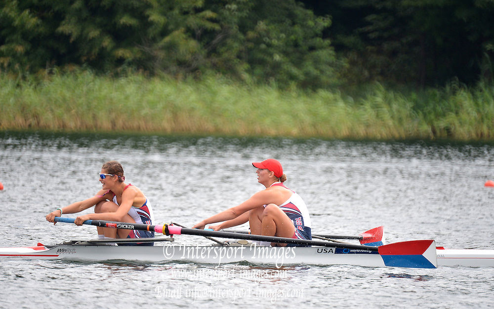 Trackai. LITHUANIA. B Final. USA BW2-  Bow. Anna KAMINSKI and Rosemary POPA  in the closing stages of the women's pair B Final on Lake Galve.  2012 FISA U23 World Rowing Championships.  ..11:58:31  Saturday  14/07/2012  [Mandatory Credit: Peter Spurrier/Intersport Images]..Rowing. 2012. U23.