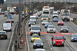 © Licensed to London News Pictures. 23/12/2016<br /> Heavy anti clock-wise traffic (R) on the M25 TOWARDS Dartford crossing.<br /> Christmas Getaway traffic on the M25 in Dartford at and near the Dartford Crossing and QEII bridge in Kent.<br /> Photo credit :Grant Falvey/LNP