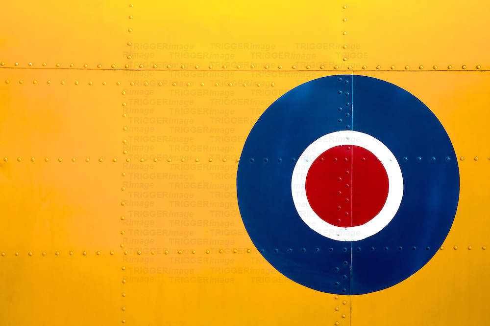 Abstract of an RAF roundel on a yellow fuselage.