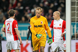 13.12.2014, SGL Arena, Augsburg, GER, 1. FBL, FC Augsburg vs FC Bayern Muenchen, 15. Runde, im Bild l-r: Paul Verhaegh #2 (FC Augsburg), enttaeuschung bei Alexander Manninger #1 (FC Augsburg), Tobias Werner #13 (FC Augsburg) // during the German Bundesliga 15th round match between FC Augsburg and FC Bayern Munich at the SGL Arena in Augsburg, Germany on 2014/12/13. EXPA Pictures © 2014, PhotoCredit: EXPA/ Eibner-Pressefoto/ Kolbert<br /> <br /> *****ATTENTION - OUT of GER*****