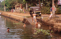 Men swimming in backwaters of Kerala near Aleppey; India,