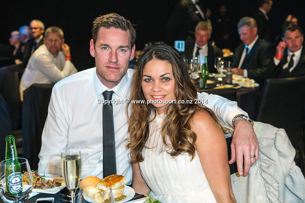 Dillon and Nikki Boucher at the Mahindra Super 8 Fight Night, North Shore Events Centre, Auckland, New Zealand, Saturday, November 22, 2014. Photo: David Rowland/Photosport