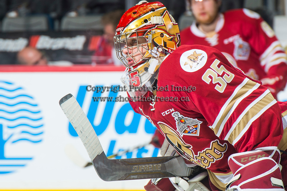 REGINA, SK - MAY 27: Joseph Murdaca #35 of Acadie-Bathurst Titan warms up against the Regina Pats at the Brandt Centre on May 27, 2018 in Regina, Canada. (Photo by Marissa Baecker/CHL Images)