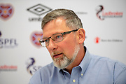 Craig Levein, manager of Heart of Midlothian speaking to the media during the Heart of Midlothian press conference ahead of the match against Motherwell, at Oriam Sports Performance Centre, Edinburgh, Scotland on 15 February 2019.