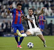 &copy; Filippo Alfero<br /> Juventus-Barcellona, Champions League 2016/2017<br /> Torino, 11/04/2017<br /> sport calcio<br /> Nella foto: Neymar Barcellona, Leonardo Bonucci Juventus