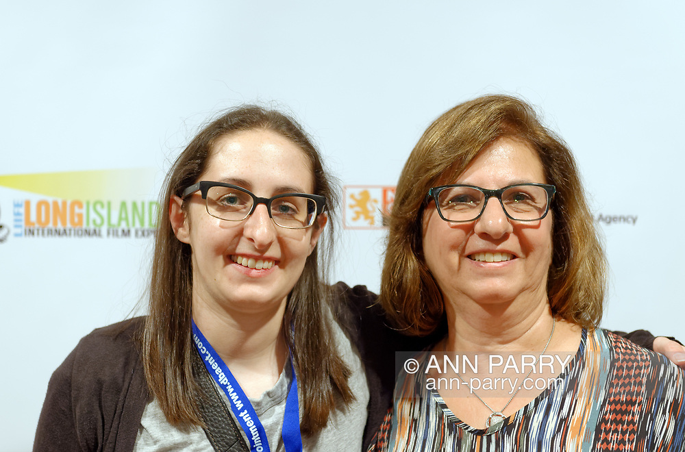 Bellmore, New York, USA. July 18, 2018. L-R, STEPHANIE DONNELLY, director and writer of the short film The Adventures of Penny Patterson, poses with her mother BETH DONNELLY, after the movie screens during final block of films at LIIFE 2018, the Long Island International Film Expo. The comedy, sci-fi, woman directed, NYU graduate thesis short film was nominated at LIIFE for Best Student Film, and is screening July 21  at the San Diego Comic-Con International Independent Film Festival, CCI-IFF 2018, in California.