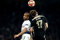 Lucas of Tottenham Hotspur challenges Daley Blind of Ajax - Mandatory by-line: Robbie Stephenson/JMP - 30/04/2019 - FOOTBALL - Tottenham Hotspur Stadium - London, England - Tottenham Hotspur v Ajax - UEFA Champions League Semi-Final 1st Leg