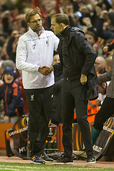 14.04.2016, Anfield Road, Liverpool, ENG, UEFA EL, FC Liverpool vs Borussia Dortmund, Viertelfinale, Rueckspiel, im Bild Trainer Juergen Klopp (FC Liverpool) und Trainer Thomas Tuchel (Borussia Dortmund) nach Abpfiff // during the UEFA Europa League Quaterfinal, 2nd Leg match between FC Liverpool vs Borussia Dortmund at the Anfield Road in Liverpool, Great Britain on 2016/04/14. EXPA Pictures &copy; 2016, PhotoCredit: EXPA/ Eibner-Pressefoto/ Schueler<br /> <br /> *****ATTENTION - OUT of GER*****