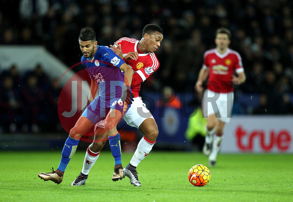 Anthony Martial of Manchester United battles with Riyad Mahrez of Leicester City - Mandatory byline: Robbie Stephenson/JMP - 28/11/2015 - Football - King Power Stadium - Leicester, England - Leicester City v Manchester United - Barclays Premier League