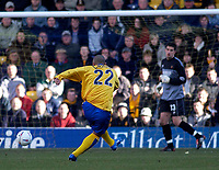 Photo. Glyn Thomas.<br /> Mansfield Town v Hull City.<br /> Nationwide League Division 3.<br /> Field Mill, Mansfield. 06/03/2004.<br /> Iyseden Christie (L) scores for Mansfield in the first half but the goal is disallowed.