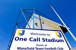 A general view of the One Call Stadium, home to Mansfield Town - Mandatory by-line: Ryan Crockett/JMP - 19/04/2019 - FOOTBALL - One Call Stadium - Mansfield, England - Mansfield Town v Morecambe - Sky Bet League Two