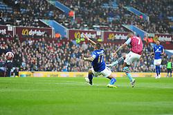 Aston Villas Leandro Bacuna scores to make it 1-0 - Photo mandatory by-line: Alex James/JMP - Mobile: 07966 386802 - 15/02/2015 - SPORT - Football - Birmingham - Villa Park - Aston Villa v Leicester City - FA Cup - Fifth Round
