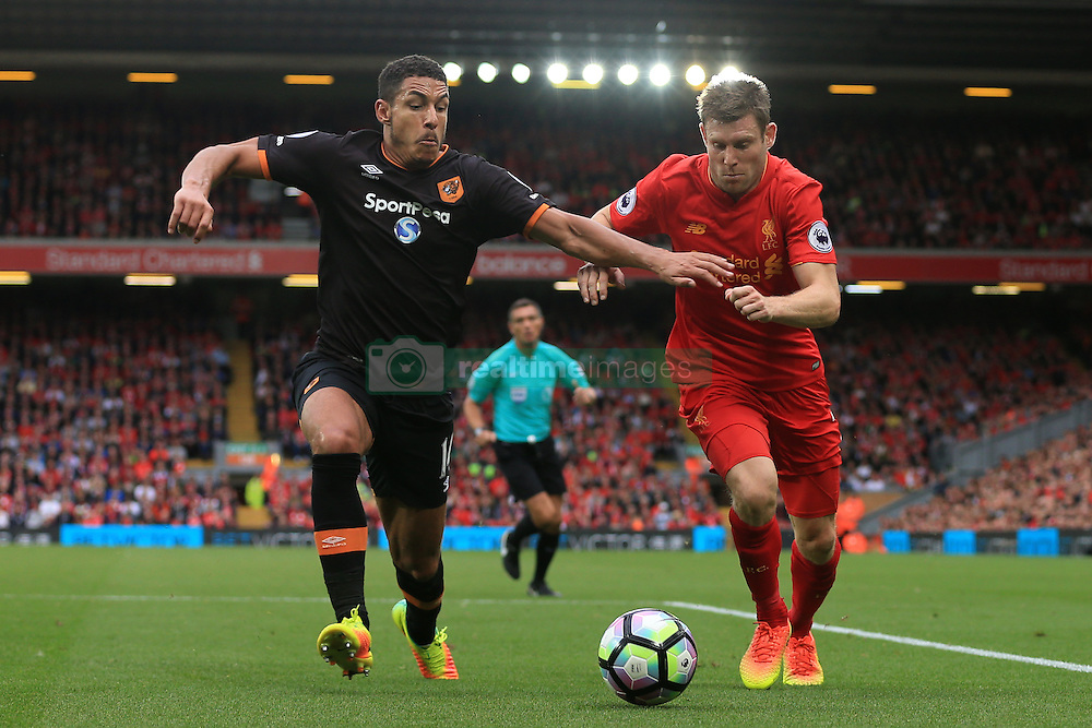 24th September 2016 - Premier League - Liverpool v Hull City - James Milner of Liverpool battles with Jake Livermore of Hull - Photo: Simon Stacpoole / Offside.