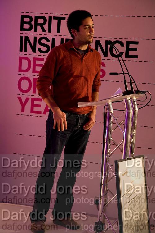 USMAN HAQUE, Brit Insurance Design Awards. Design Museum. London. 18 March 2008.  *** Local Caption *** -DO NOT ARCHIVE-© Copyright Photograph by Dafydd Jones. 248 Clapham Rd. London SW9 0PZ. Tel 0207 820 0771. www.dafjones.com.