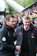 Manchester United Manager, Ole Gunnar Solskjaer and Huddersfield Town Head Coach, Jan Siewert before the Premier League match between Huddersfield Town and Manchester United at the John Smiths Stadium, Huddersfield, England on 5 May 2019.